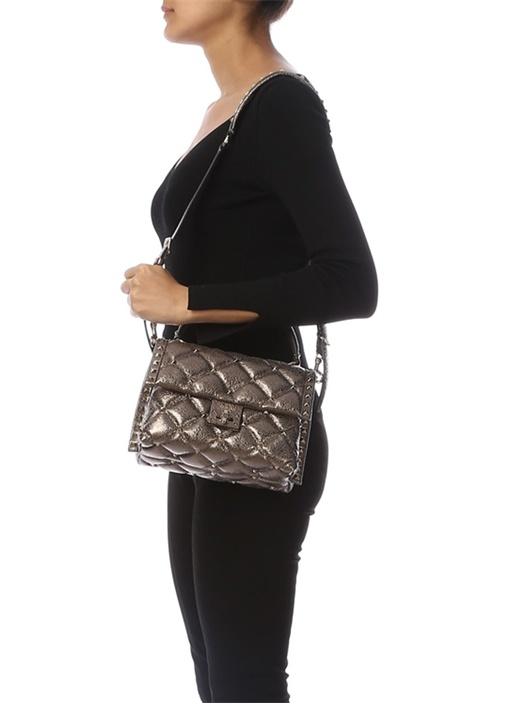 Bronz Rockstud Kadın Deri Çanta