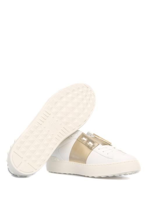 Rockstud Open Beyaz Gold Kadın Deri Sneaker