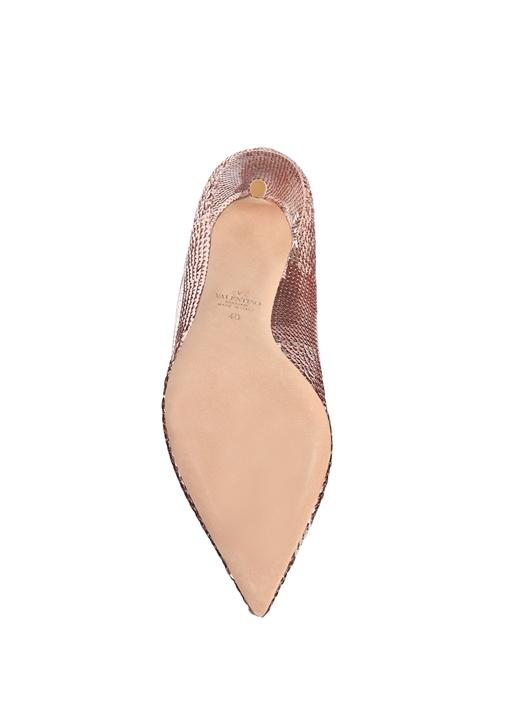 Dollybow Rose Gold Payetli Deri Stiletto
