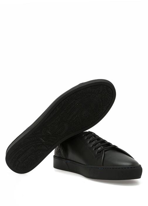 Siyah Etnik Desen Detaylı Erkek Deri Sneaker