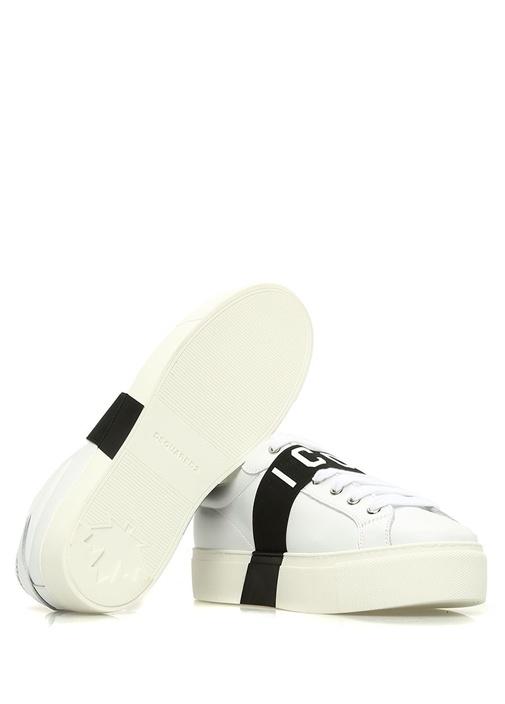 Beyaz Şerit Detaylı Baskılı Kadın Deri Sneaker