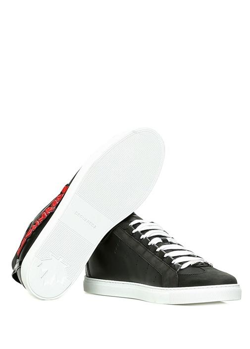 Siyah Logolu Erkek Deri Sneaker