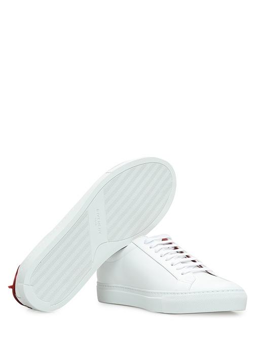 Beyaz Bağcıklı Topuk Detaylı Erkek DeriSneaker