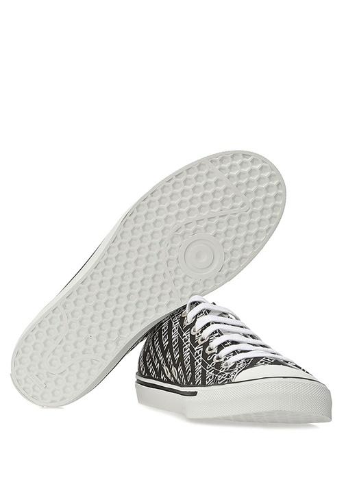 Siyah Beyaz Logo Baskılı Kadın Sneaker