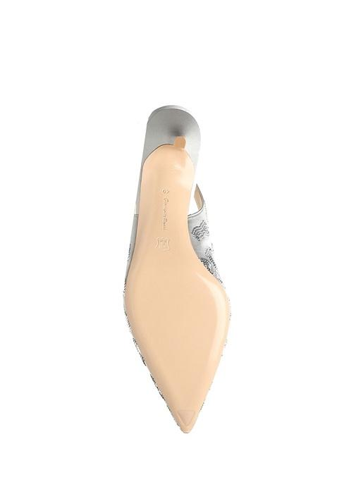 Daze Gri Payet İşlemeli İpek Topuklu Ayakkabı