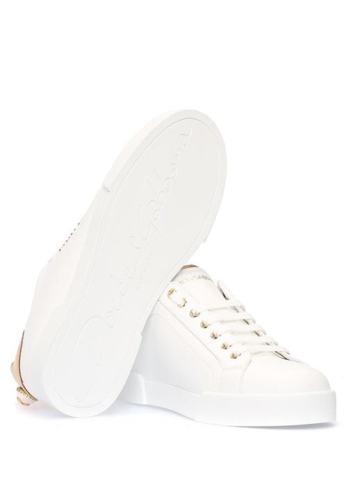 Beyaz Logolu İnci Detaylı Kadın Deri Sneaker