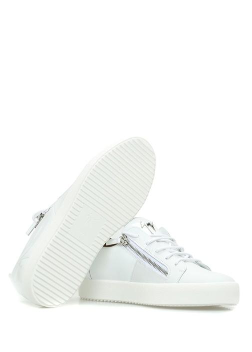 Beyaz Çift Fermuar Detaylı Erkek Deri Sneaker