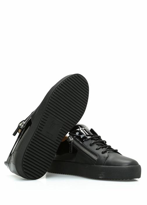 Siyah Çift Fermuarlı Erkek Deri Sneaker