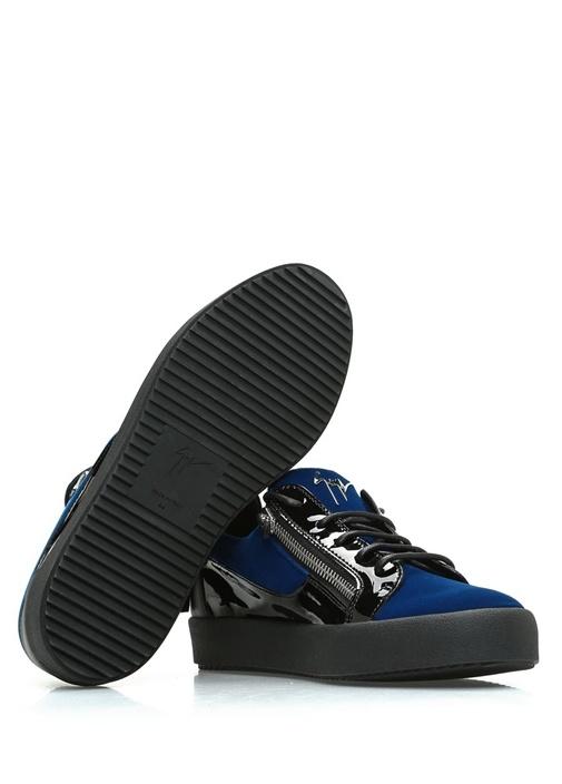 Lacivert Siyah Deri Detaylı Erkek Kadife Sneaker