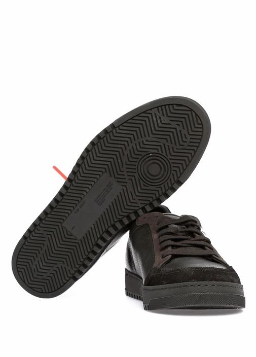 Siyah Logo Baskılı Kadın Deri Sneaker