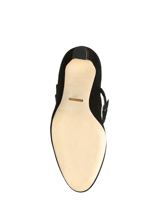 Siyah Taşlı Bantlı Topuklu Süet Gece Ayakkabısı