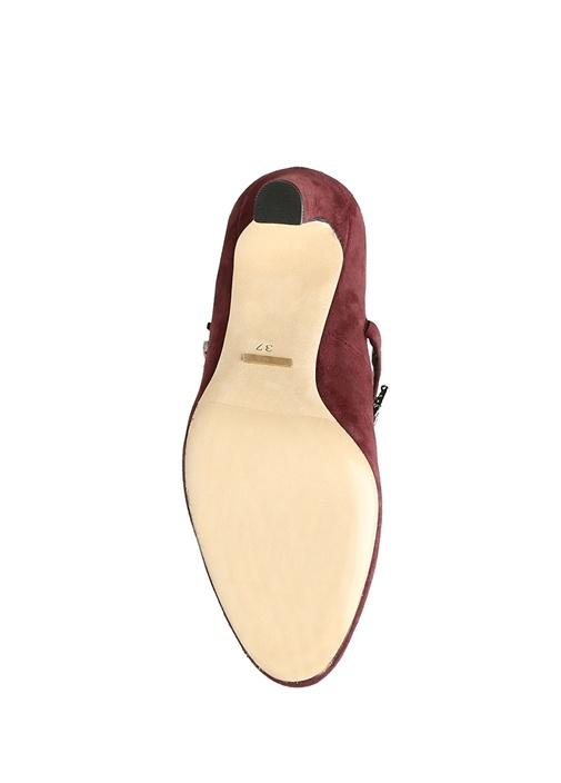 Bordo Taşlı Bantlı Topuklu Süet Gece Ayakkabısı