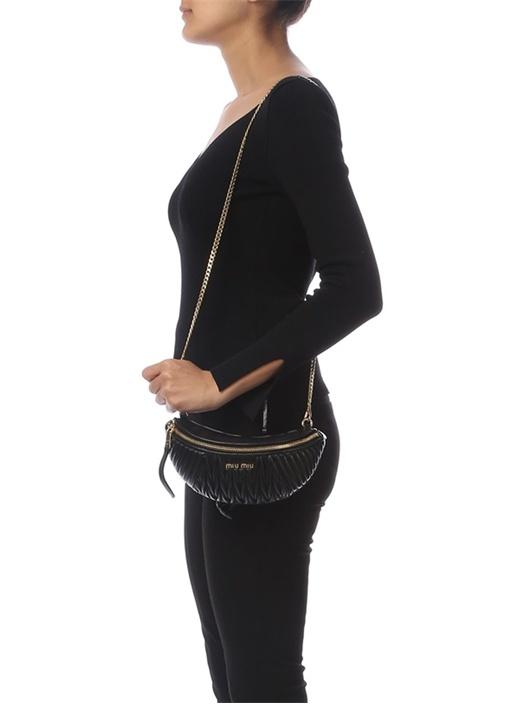Matelasse Siyah Drapeli Kadın Deri Bel Çantası