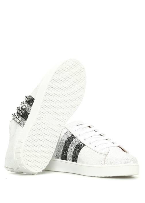 Beyaz Taş İşlemeli Simli Kadın Deri Sneaker