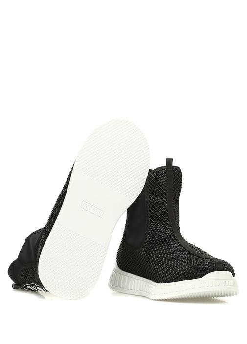 Siyah File Dokulu Çorap Formlu Kadın Sneaker
