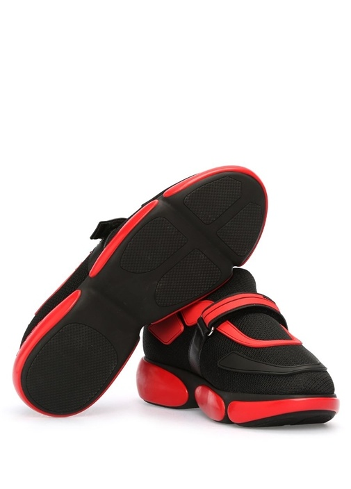 Siyah Kırmızı File Dokulu Kadın Sneaker