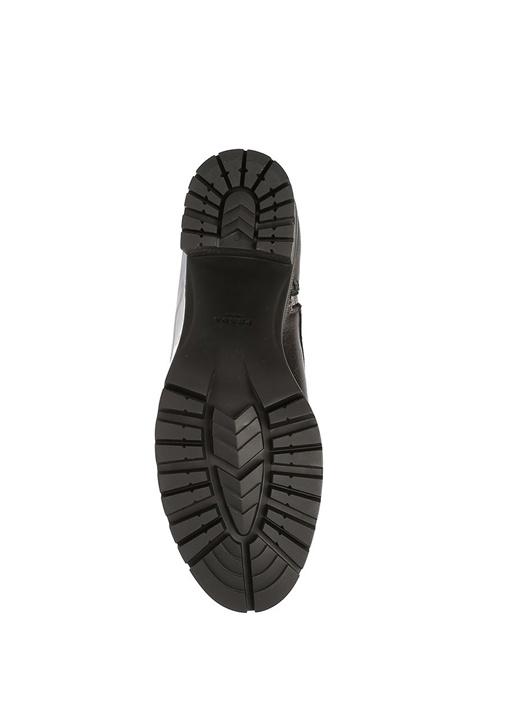 Siyah Kalın Topuklu Kadın Deri Bot