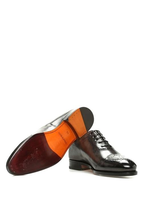 Gri Degrade Delik Detaylı Erkek Deri Ayakkabı