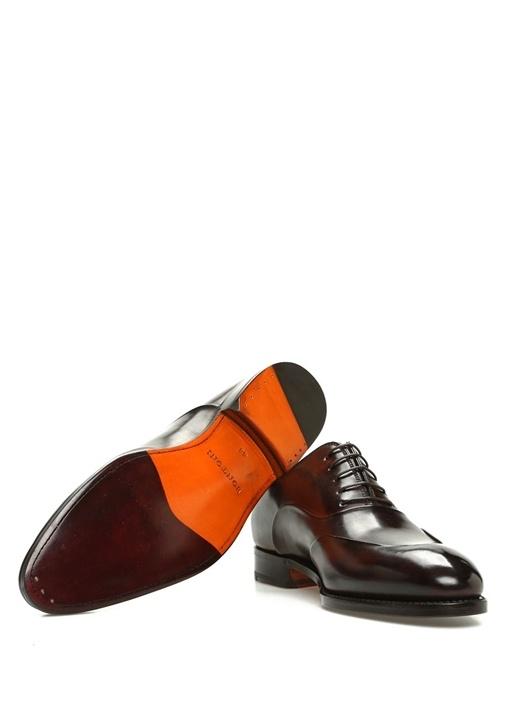Kahverengi Dikiş Detaylı Erkek Deri Ayakkabı