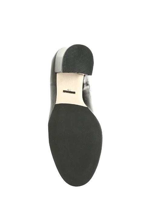 Siyah Kalın Topuk Kadın Deri Bot