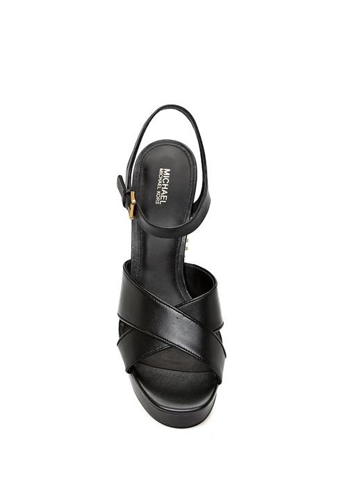 Palmer Siyah Topuk Detaylı Kadın Deri Sandalet