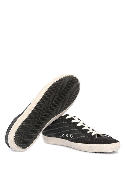 Lacivert Yazı Baskılı Kadın Deri Sneaker