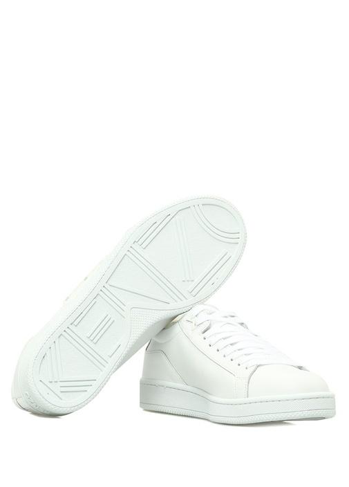 Beyaz Peluş Detaylı Erkek Deri Sneaker
