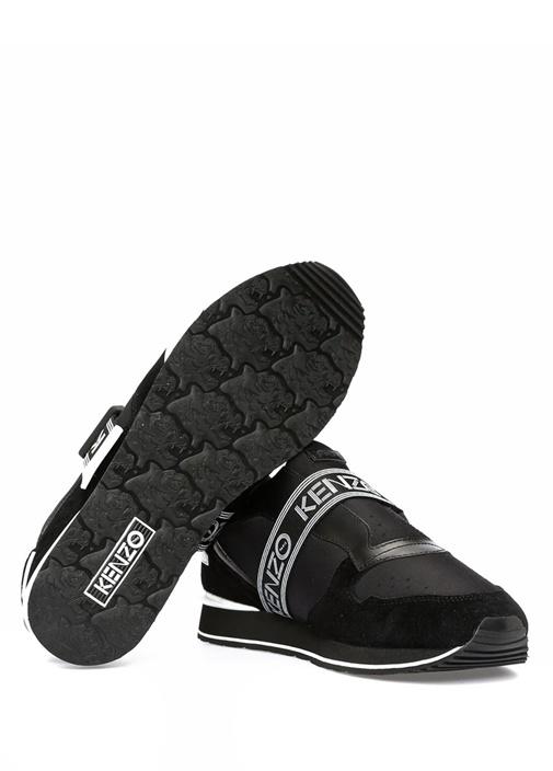 Siyah Logo Jakar Şeritli Erkek Nubuk Sneaker