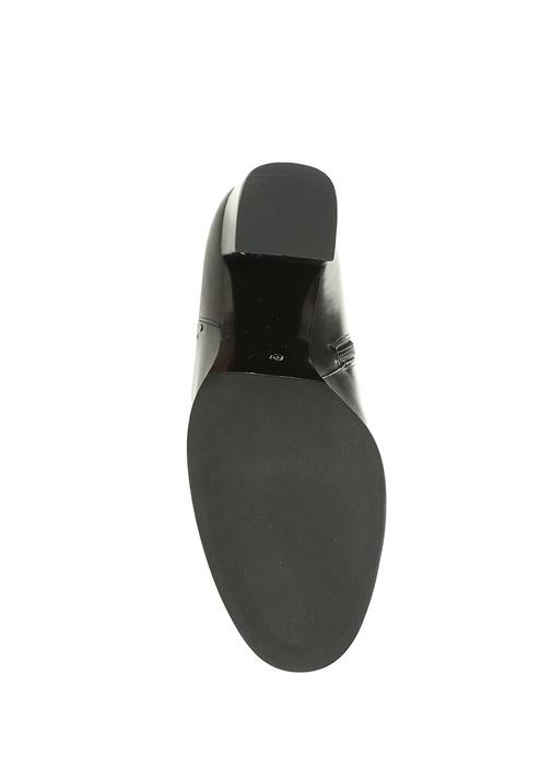 Siyah Fermuarlı Silver Troklu Kadın Deri Bot
