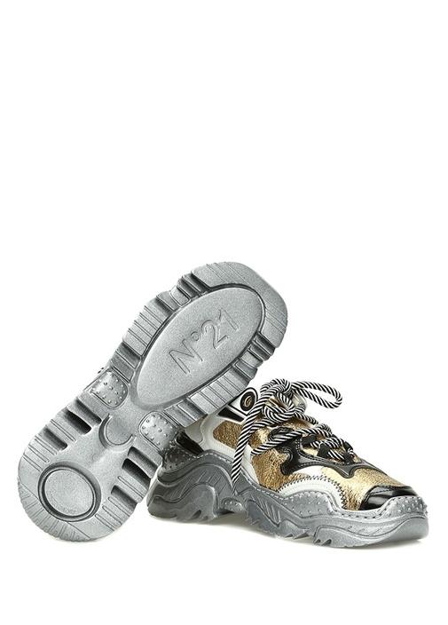 Gold Silver Taban Detaylı Kadın Deri Sneaker