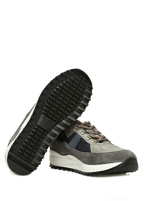 Gri Lacivert File Dokulu Erkek Deri Sneaker