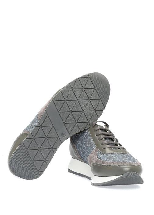 Gri Dantel Detaylı Kadın Deri Sneaker
