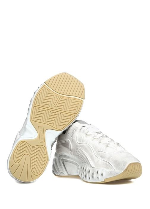 Metalik Silver Beyaz Kadın Sneaker