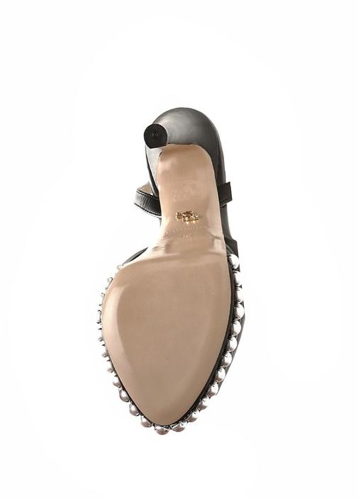 Milena Siyah İncili Kadın Deri Gece Ayakkabısı