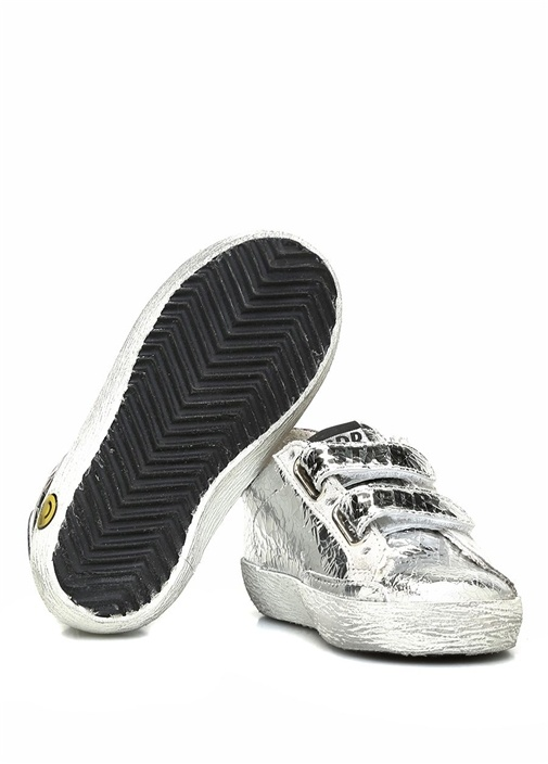 Beyaz Eskitmeli Krokodilli Kız Çocuk Deri Sneaker