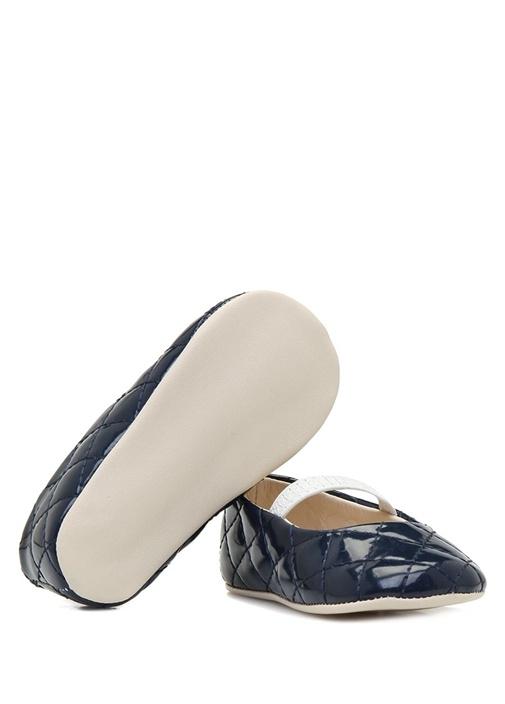 Lacivert Kapitoneli Kız Bebek Deri Ayakkabı
