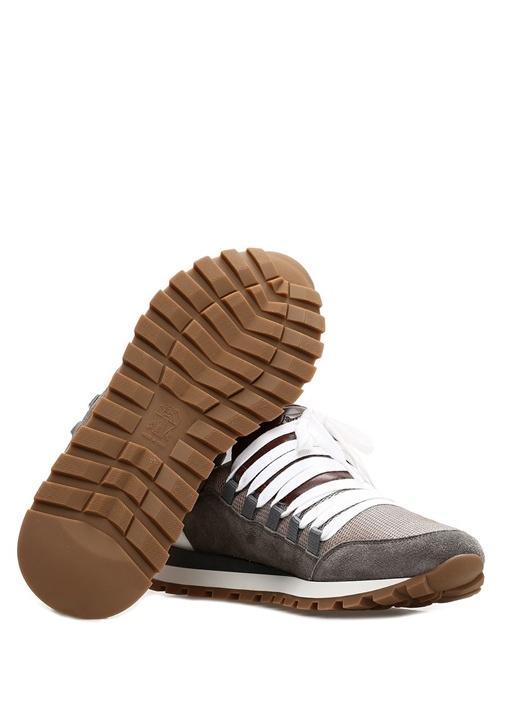Bej Gri Bloklu File Dokulu Kadın Sneaker