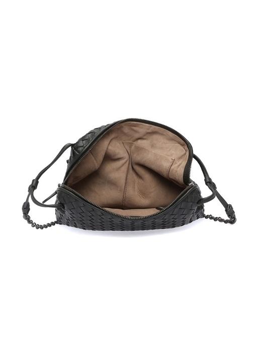 Nodini Siyah Örgü Dokulu Kadın Deri Çanta