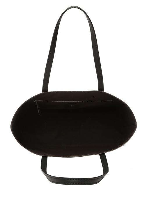 Kahverengi Siyah Logolu Kadın AlışverişÇantası