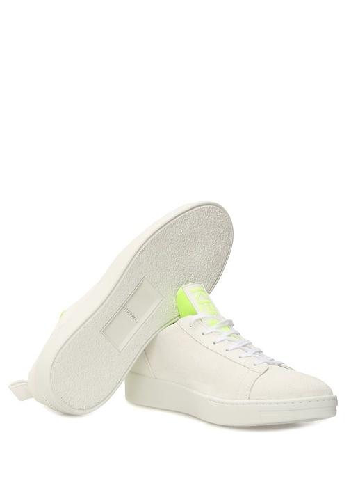 K City Beyaz Çorap Form Detaylı Erkek Deri Sneaker
