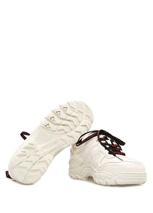 Beyaz Dekoratif Dikişli Kadın Deri Sneaker
