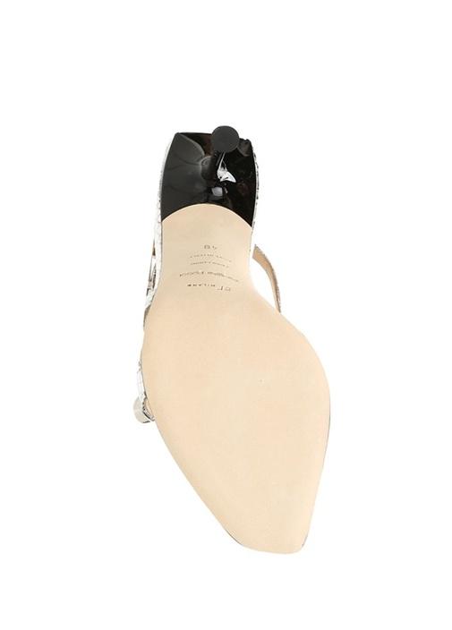 Silver Çapraz Bantlı Troklu Kadın Deri Sandalet