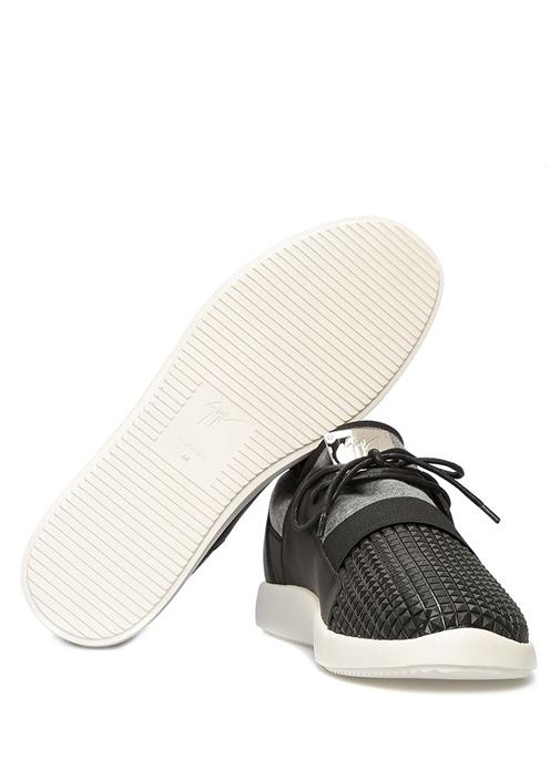 Siyah Gri Kumaş Garnili Erkek Deri Sneaker