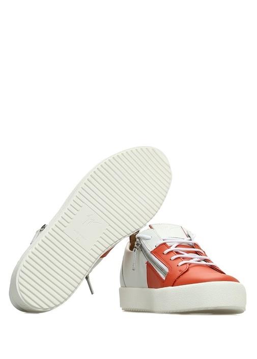 Turuncu Beyaz Fermuar Detaylı Erkek Deri Sneaker