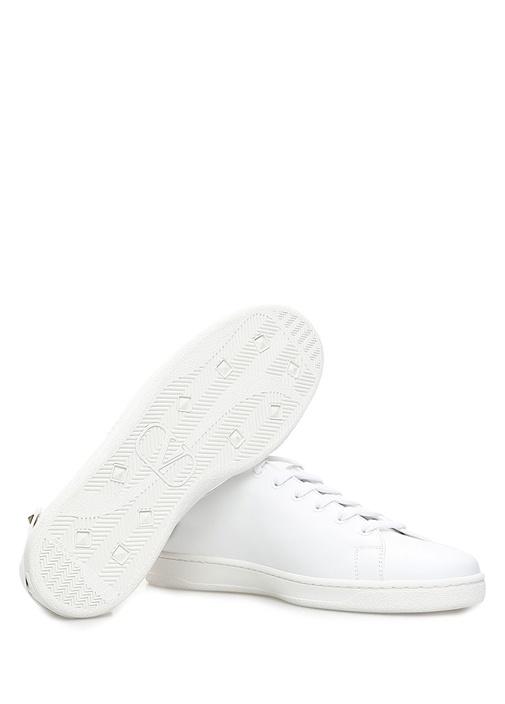 Beyaz Çıkarılabilir Tüy Detaylı Kadın Deri Sneaker