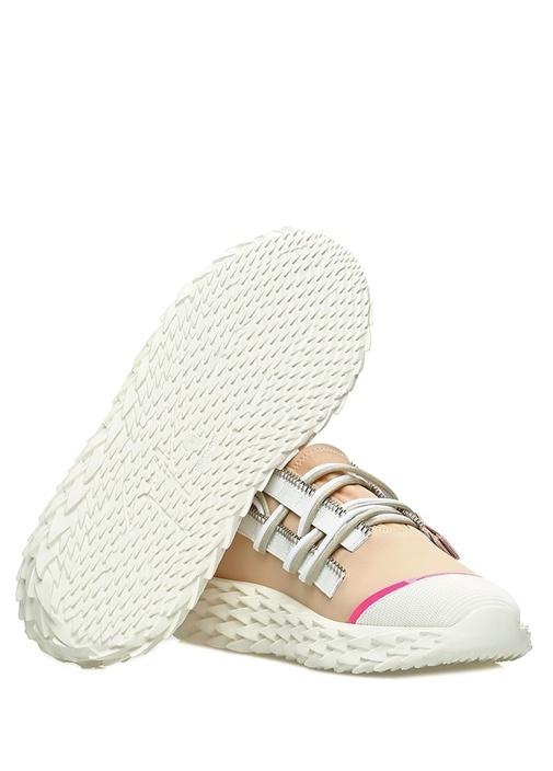 Bej Taban Detaylı Kadın Deri Sneaker