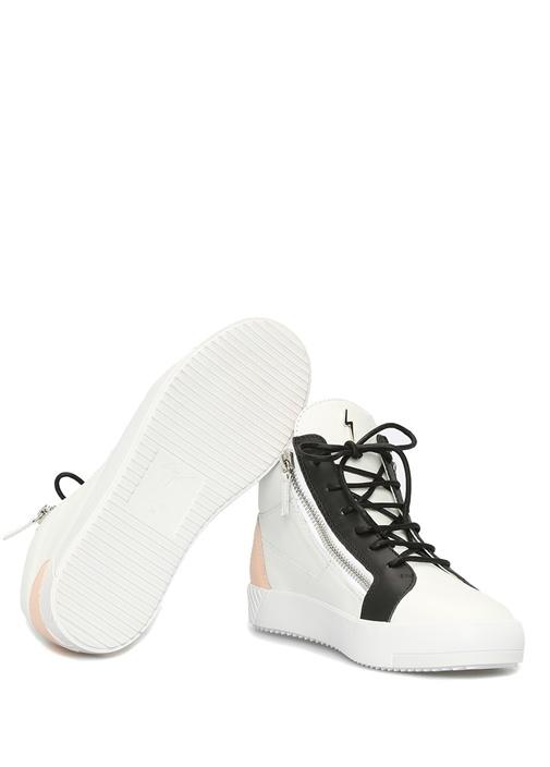 July Beyaz Siyah Logolu Kadın Deri Sneaker