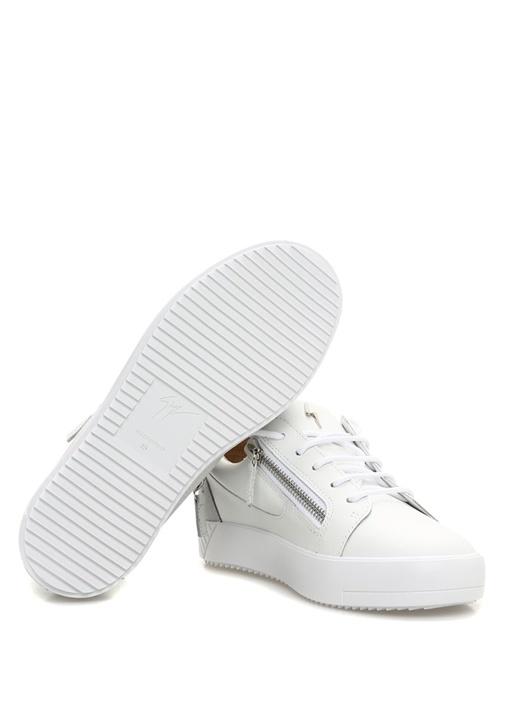 July Beyaz Logolu Kadın Deri Sneaker