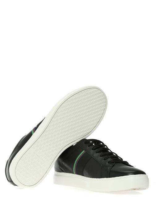 Siyah Şerit Detaylı Erkek Deri Sneaker