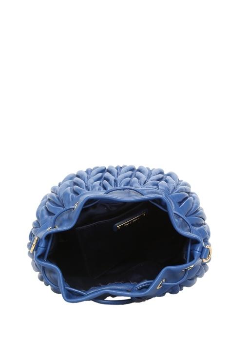 Lacivert Drapeli Kadın Deri Büzgülü Çanta